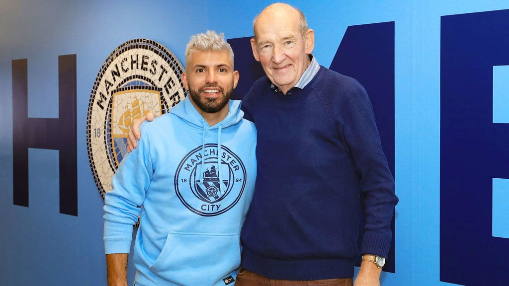 BLUES BROTHERS: Sergio Aguero was always delighted to share some time with Bernard
