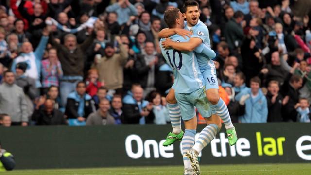 Dzeko and Aguero Celebrate