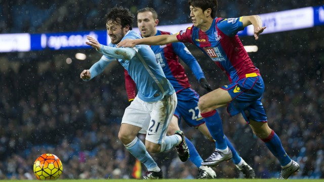 CATCH ME IF YOU CAN: David Silva stretches the Palace defence
