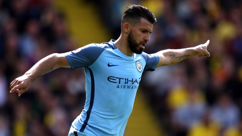 LANDMARK STRIKE: Aguero celebrates equalling his record goal tally for  the club in a single season