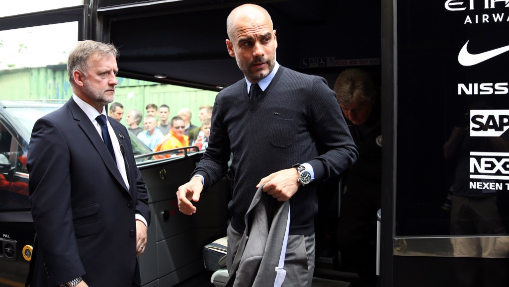 READY FOR ACTION: Pep arrives at Vicarage Road