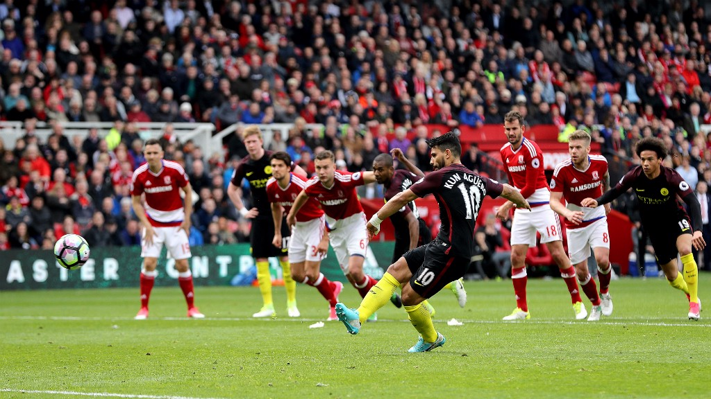COOL AS YOU LIKE : Aguero equalizes from the spot on his 250th appearance for City.