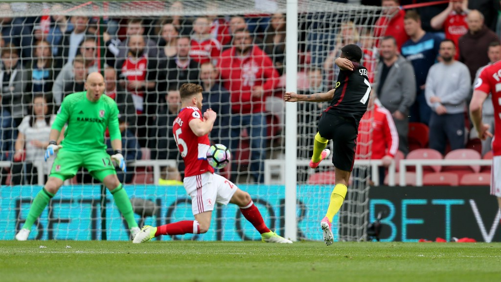 BODY ON THE LINE: Sterling's effort towards goal is blocked in it's path by Callum Chambers.