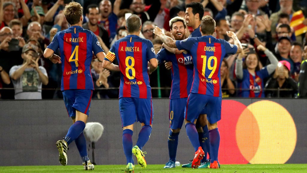 MESSI - Barcelona's Lionel Messi celebrates after scoring