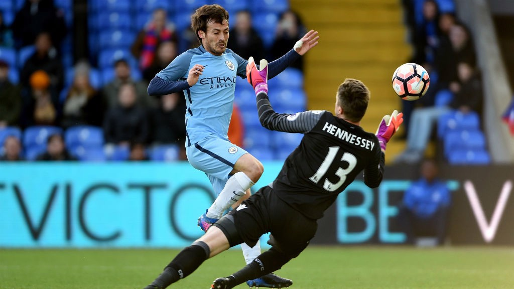 THWARTED: Wayne Hennessey saves from David Silva