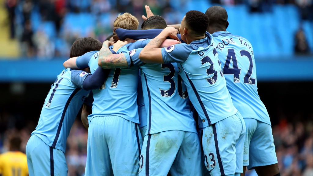 TOGETHER: City take a big step towards securing a top four place after a convincing win over Crystal Palace.