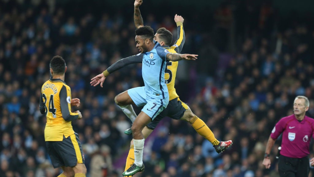 JUMP TO IT: Sterling contests an aerial ball