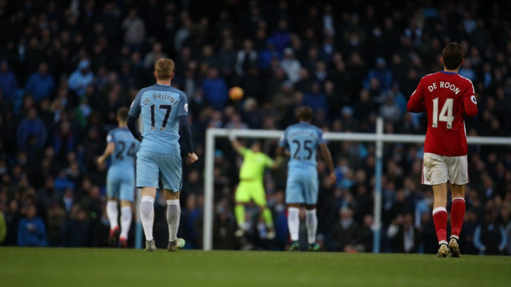 WATCHING ON: De Bruyne can only watch as Claudio Bravo tips Negredo's audacious effort over