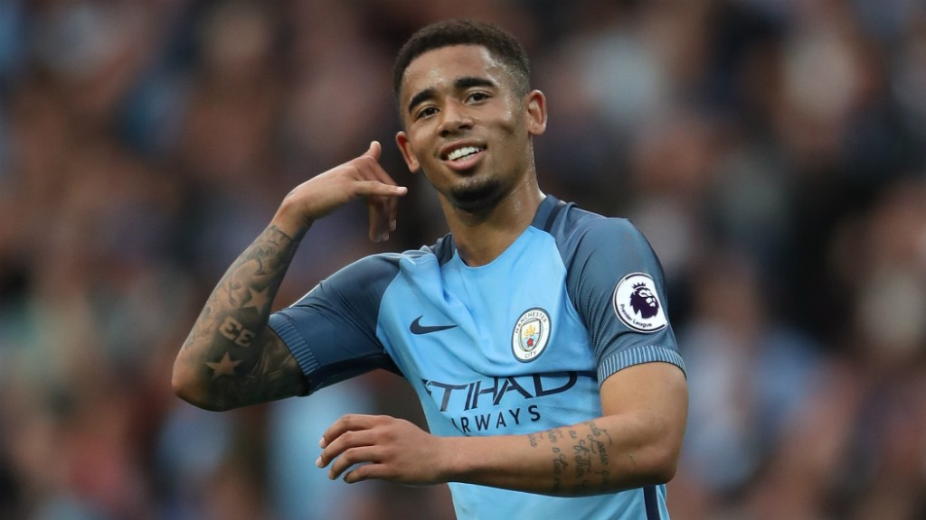 CALL ME: Gabriel Jesus demonstrates his trademark celebration