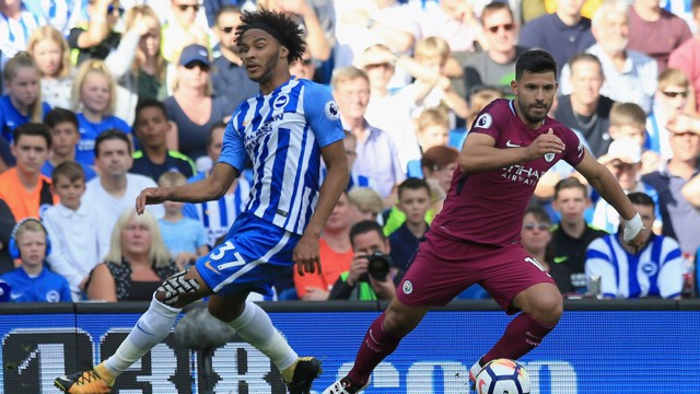 AGUERO: Sergio looks to get past Izzy Brown in the first half.