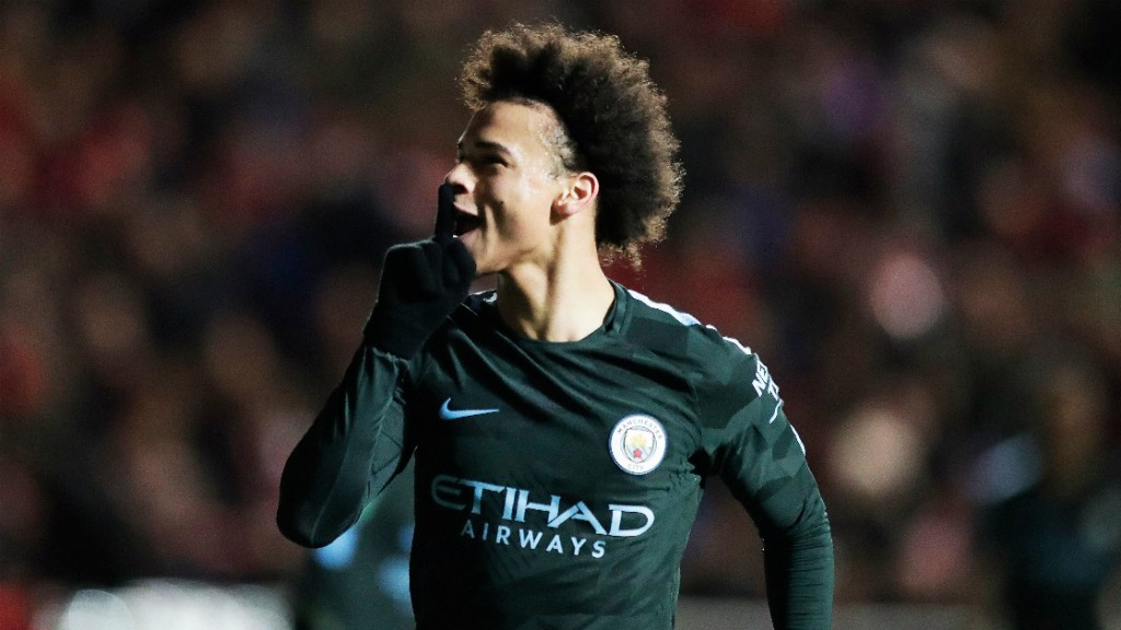 IN-SANE: Leroy Sane celebrates the opener - his fifth involvement (goal or assist) in his sixth game of 2018