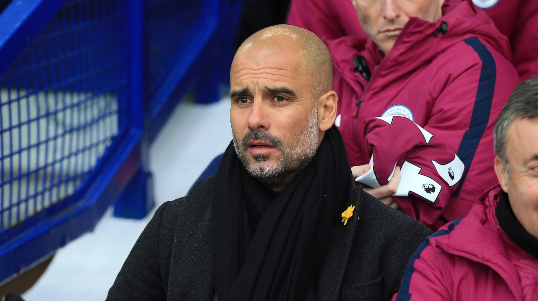 PEP WATCH: The manager observes from the bench at Goodison Park.
