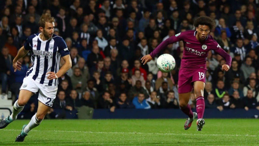 SECONDS OUT: Leroy Sane fires home his and City's second goal