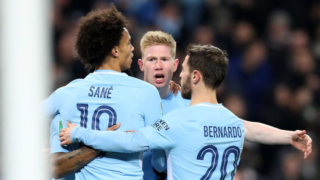 ON LEVEL TERMS: City celebrate Kevin De Bruyne's equaliser.