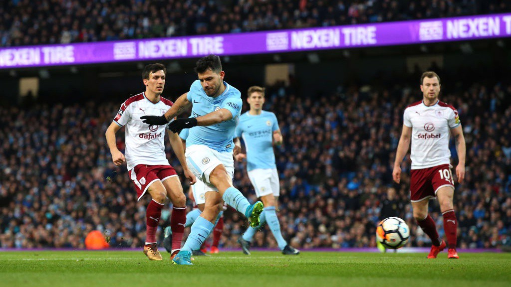 EQUALISER: Sergio Agüero draws City level with a trademark finish.