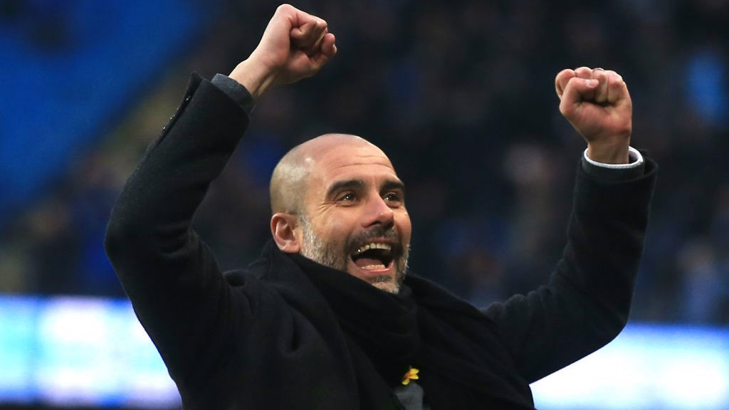 HAPPY MANAGER: Pep Guardiola celebrates Bernardo's goal.