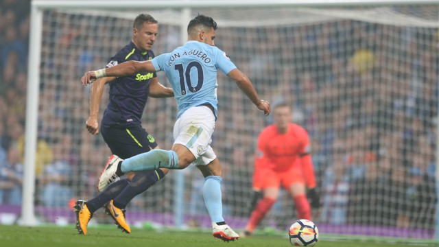 EARLY EFFORT: Aguero has a chance in the opening stages of the first half