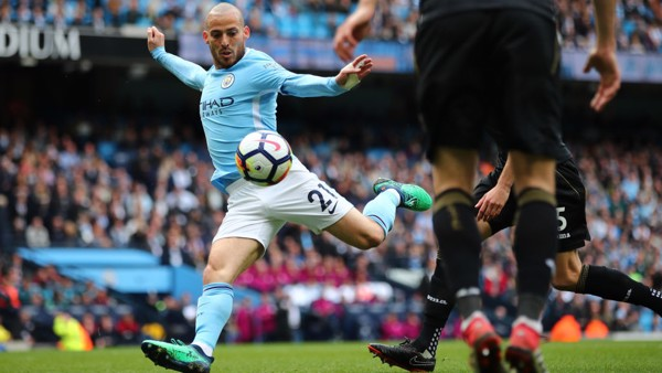TECHNIQUE: David Silva fires City into an early lead.