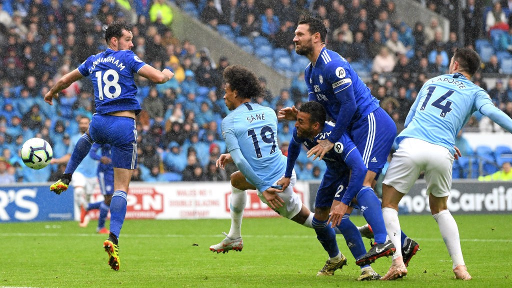 SO CLOSE: Leroy Sane's header brushed the post