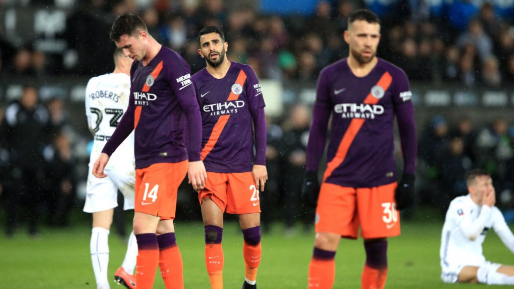 DISAPPOINTMENT: The Blues' expressions say it all after a tough first half