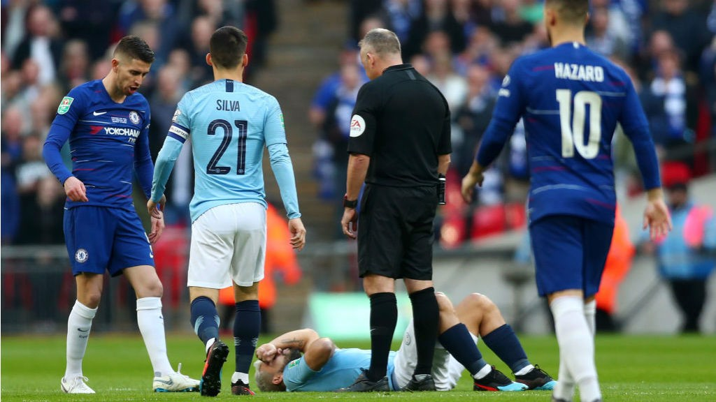 OUCH: Sergio Aguero was blocked by Jorginho barely seconds after kick-off