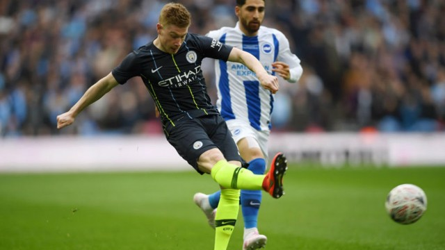 CROSS PURPOSES: Kevin De Bruyne sets up City's opener with a stunning crossfield ball