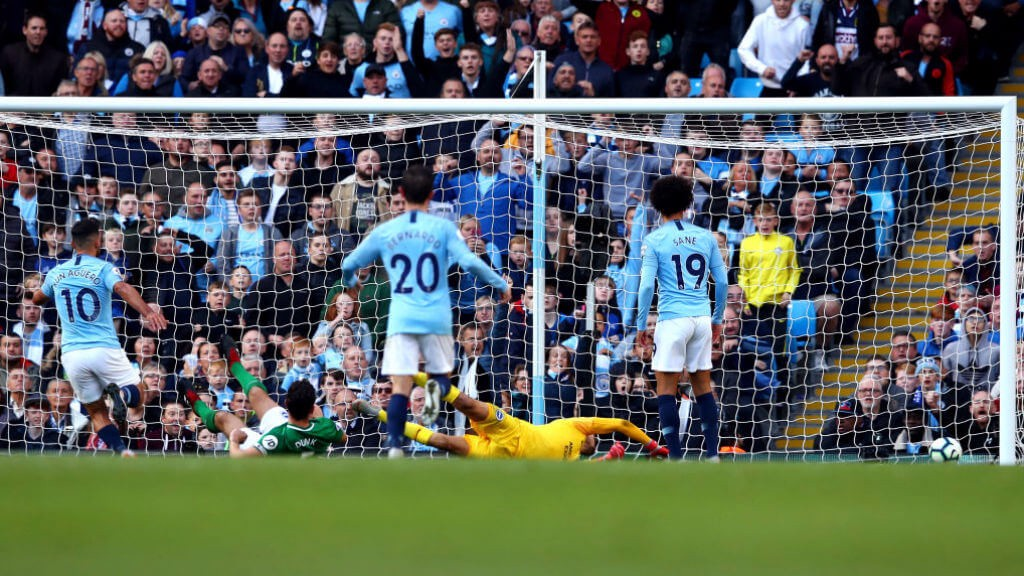 SUPER SERGIO: Aguero finishes superbly after a fine one-two with Sterling to put City 2-0 up.