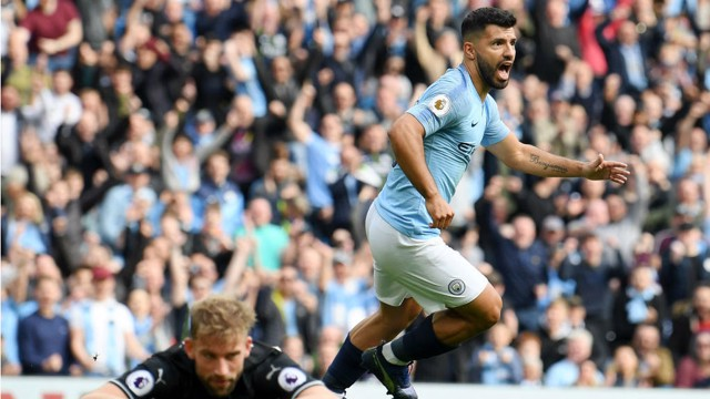 POWER SERG: Kun can't contain his delight after his early goal