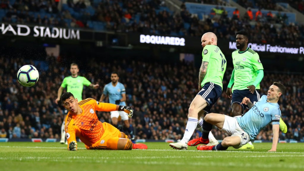 SO CLOSE: Phil Foden is denied by Cardiff keeper Neil Etheridge