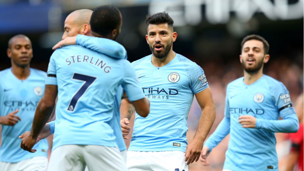 STARS ON SUNDAY: Sergio Aguero celebrates with his team-mates after scoring City's second goal