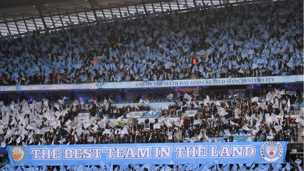 BLUE HEAVEN: The Etihad was a sea of colour ahead of kick-off