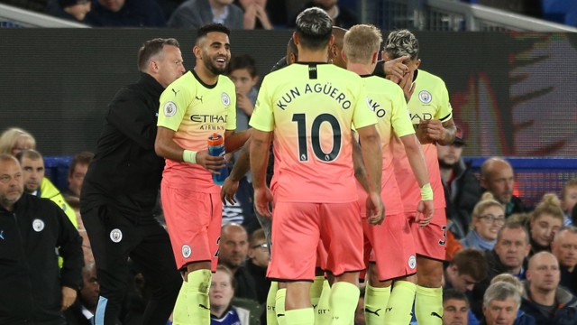 MAHREZ MAGIC: The team congratulate Riyad Mahrez on his superb free-kick