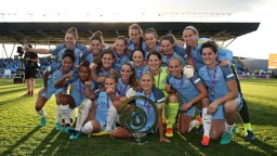 CELEBRATE GOOD TIMES: The celebrations begin as Manchester City Women are crowned Continental Cup winners for the second time!