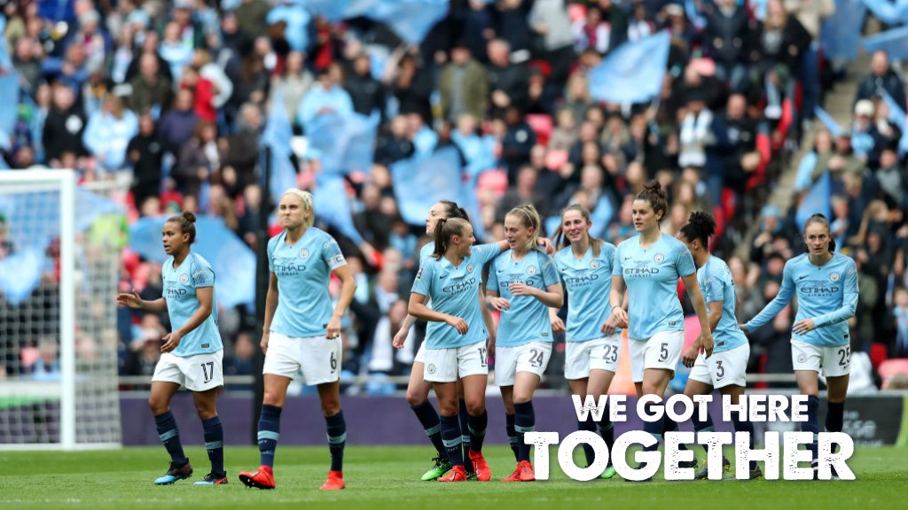 TOGETHER: City celebrate at Wembley.