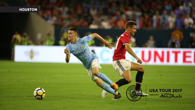 YOUNG GUN: Phil Foden impressed against Manchester United.