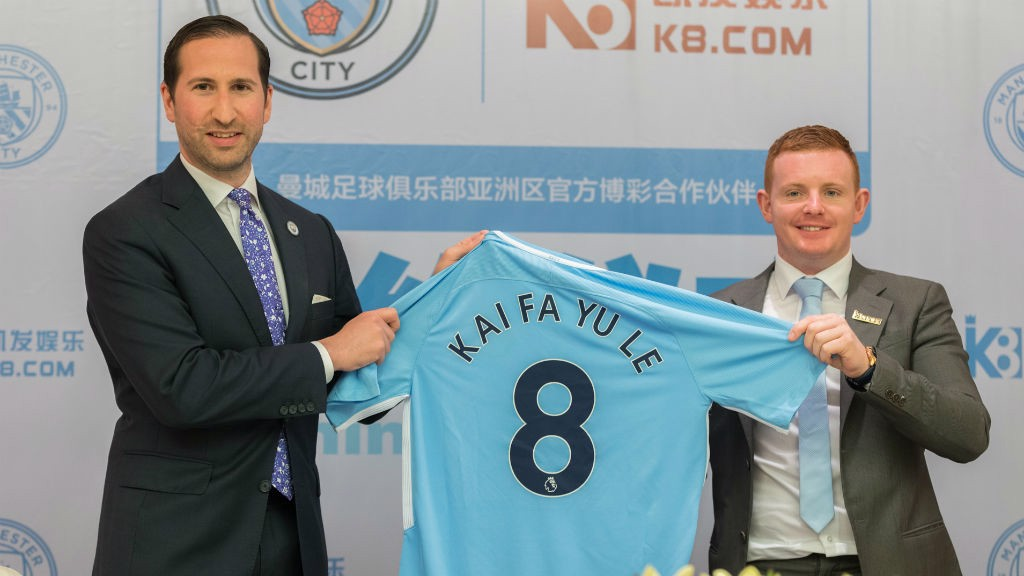 DONE DEAL: Kai-Fa Yule K8.com are now Manchester City's Official Betting Partner in Asia.