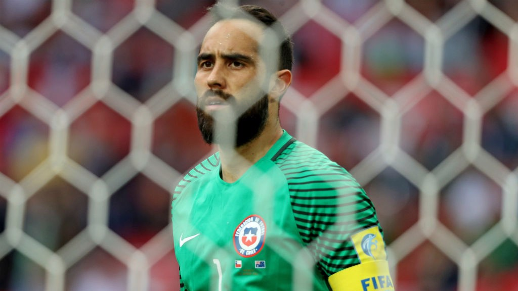 HERO: Bravo made three shoot-out saves to put Chile into the final.