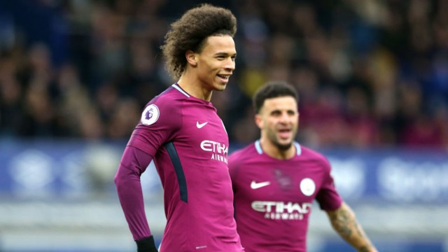 GOLDEN SMILE: Leroy Sane celebrates after his stunning strike for City at Everton last season