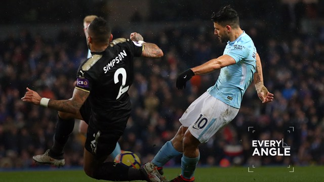 FANTASTIC FOUR: Sergio Aguero netted an incredible four goals against Leicester