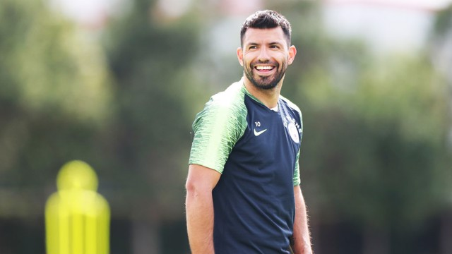 BACK: Sergio Aguero returned to training at the CFA this afternoon