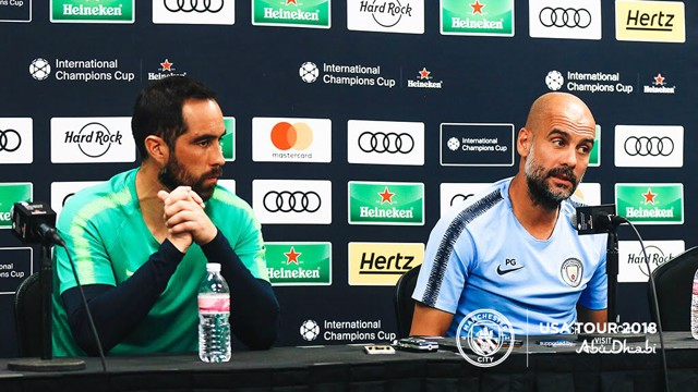 PRESS CONFERENCE: Claudio Bravo and Pep Guardiola address the media, ahead of Bayern v City...