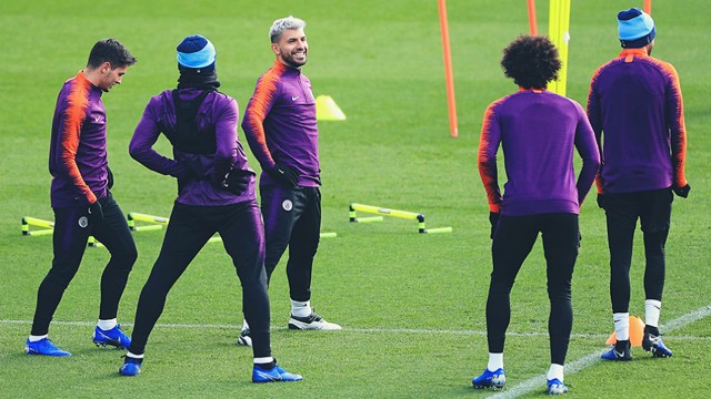 CENTRE OF ATTENTION: Sergio Aguero was in relaxed mood as City went through their paces in Monday's open training session