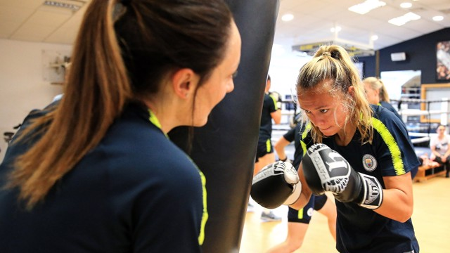 RIGHT HOOK: The team took in a different kind of training  in preparation for the new WSL campaign