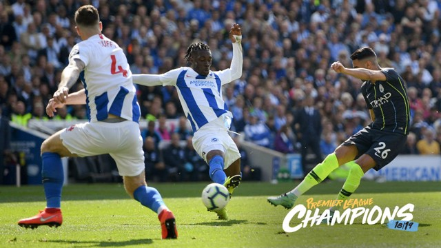THUNDERBOLT: Riyad Mahrez fires in City's third against Brighton