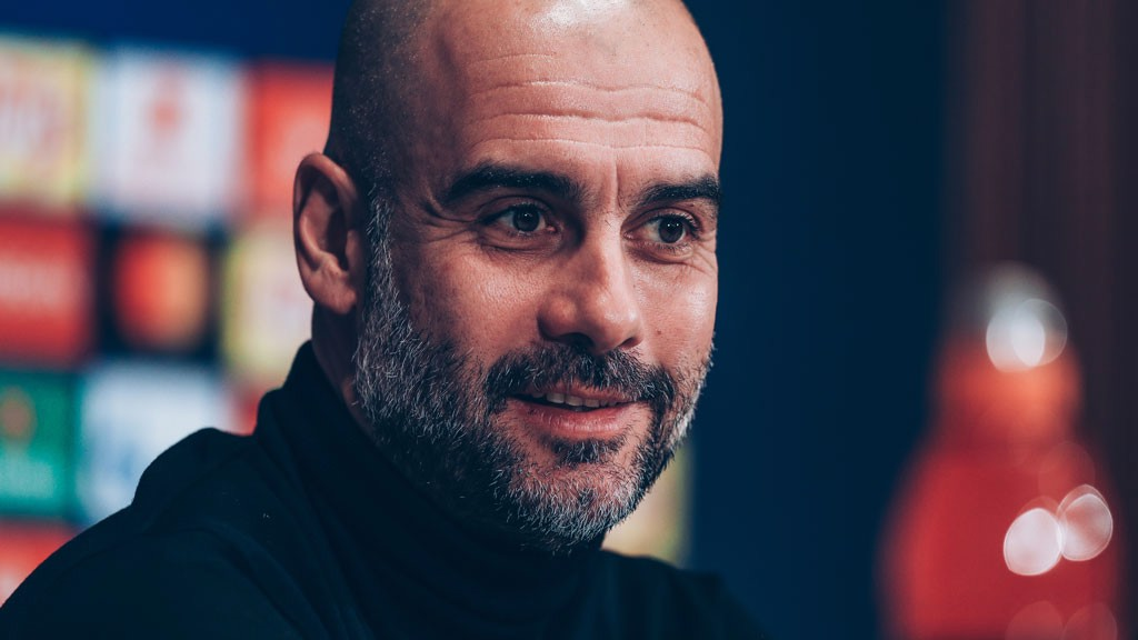 PEP TALK: The boss addressed the media ahead of Wednesday's Champions League tie